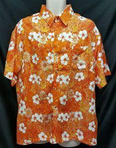 88c4a142 Just Cruising orange hawaiian aloha shirt white hibiscus floral print SZ  XXL 2XL #JustCruising #