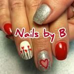 #nailart #handpainted #nailsbyb #gelpolish #hearts #red #valentines