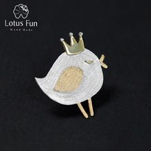 Lotus Fun Real 925 Sterling Silver Natural Handmade Fine Jewelry Lovely Princess Bird Design Brooches Pin Broche For Women //Price: $US $15.90 & FREE Shipping //     #hashtag3