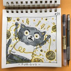 • FURIOUS •  I guess, it's my very first work with emotion like this #inktoberday21 #inktober2017 #inktober #illustration #tania_ink #inking #inkmyday #drawing #furious #cat #catart #blackandyellow