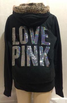 NWT VICTORIA'S SECRET LOVE PINK HOODIE BLACK FUR SEQUIN JACKET LARGE V7 #VictoriasSecret #Hoodie