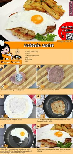 Holstein szelet recept elkészítése videóval Meat Recipes, Vegetarian Recipes, Cooking Recipes, Healthy Recipes, Good Food, Yummy Food, Hungarian Recipes, Pork Dishes, Breakfast Time