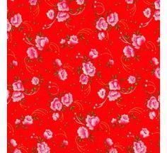 Tissu Pivoine rouge