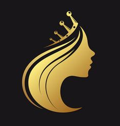 Beautiful woman face and hair fashion icon Vector Image Princess Logo, Hair Salon Logos, Hair Logos, Crown Images, Crown Photos, Drawings Of Black Girls, Queens Wallpaper, Girls Crown, Crown Logo