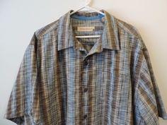 Tommy Bahama Mens Brown Blue Mosaic Hawaiian Pocket Shirt SZ XL Mint Quick Ship (Pre-Owned)