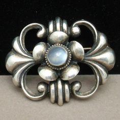 Moonstone Centered Sterling Silver Pin Vintage Brooch