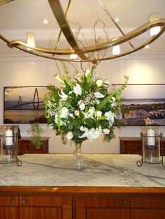 Debutante party, floral arrangement, large white flower centerpiece