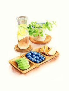 illustration, food, drink, art