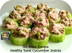 """Healthy Snack Recipe Tuna Cucumber Snack Here's a quick and easy """"healthy"""" recipe you should try! It's the Tuna Cucumber Snacks! My kids love finger foods! It's kinda hard to find quick, easy and healthy finger foods. This one turns out to be a hit!"""
