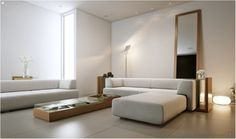 Living Room: Living Room Artificial Light By Ferdaviola Withmodern L Shaped Sofa Also Cool Wooden Coffee Table With Glass Top Also Floor Lamp And Large Rectangular Mirror And Creame Ceramic Floor Decor Ideas: Unique Mood-Enhancing Living Rooms design ideas