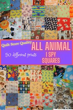 """An I SPY Quilt is a great way to spend quality time with a toddler. It is a great gift to give a special child as they observe and learn the names of animals they see around the house, at the zoo and in their story books. Offered here is a pack of 50 unique / different 5"""" charm squares. I've made these packs to save you the trouble of purchasing loads of fat quarters and cutting them all up, only to use just a small piece of each. Make a matching game quilt using a pack with pairs of squares. I Spy Quilt, Fabric Board, Story Books, Novelty Fabric, Buy Fabric, Charm Pack, Fabric Squares, Matching Games, Fat Quarters"""
