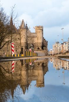 Hetsteen reflection. One of many attractions of Antwerp, Belgium city. Close to the river, delicious food and beers.
