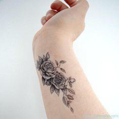 Grey Flower Tattoo Design On Wrist