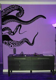 Large Kraken Octopus Tentacles Vinyl Wall Decal-Choose Any Color-Nautical Decor-Living Room-Nursery-Bedroom Art – Octopus Tattoo Simple Wall Art, Cool Wall Art, Easy Wall, Deco Cool, Ideas Vintage, Bedroom Art, My New Room, Vinyl Wall Decals, Wall Stickers