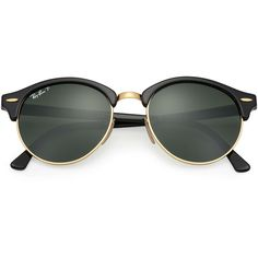 Ray-Ban Clubround Black Sunglasses, Polarized Green Lenses - Rb4246 ($210) ❤ liked on Polyvore featuring accessories, eyewear, sunglasses, clear glasses, clear sunglasses, clear round glasses, mirrored lens sunglasses and round glasses