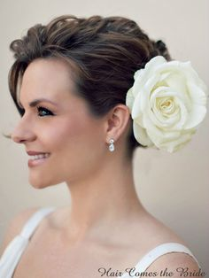 Authentic Ivory Rose Hair Flower ~ #bridalhairaccessories  #bridalhairflower  #weddinghairaccessories
