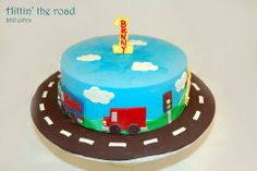 Birthday cake with cars and trucks. Truck Birthday Cakes, Truck Cakes, 2nd Birthday Parties, Birthday Ideas, Transportation Party, Occasion Cakes, Baking Tips, Vroom Vroom, Sweet Life