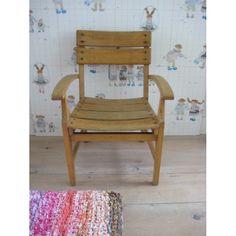 vintage houten stoeltje, jaren '50 - www.mevrouwdeuil.nl