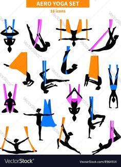 Aero yoga black white isolated icon set with silhouettes of women training in co. Aero yoga black white isolated icon set with silhouettes of women training in colored fabrics vecto Aerial Yoga Hammock, Aerial Dance, Aerial Silks, Anti Gravity Yoga, Air Yoga, Yoga Illustration, Yoga Moves, Pilates Yoga, Yoga At Home
