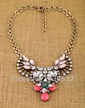 US $9.40 Gothic Style Women Glass Antique Gold Color Beautiful Flower Necklace Symmetric Crystal Fan Necklace Graceful Jewelry. Aliexpress product