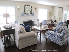 Blue, White And Silver: Timeless Design - Classic Casual Home Living Room Z Coastal Living Rooms, Formal Living Rooms, Home Living Room, Living Room Designs, Living Room Furniture, Living Room Decor, White Furniture, Furniture Layout, Furniture Ideas