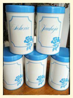 Kitchen storage tins, Aarikka Finland.