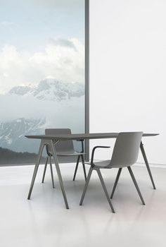 Tables and Accessories EN A Table, Dining Table, Lounge, Maker, People Sitting, Aluminium, Designer, Furniture, Chair