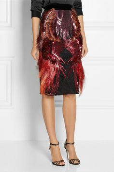 Gucci|Embellished mesh and satin skirt|NET-A-PORTER.COM