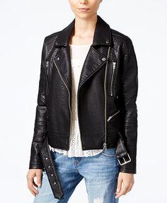 WILLIAM RAST Textured Faux-Leather Moto Jacket   macys.com