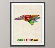 North Carolina Watercolor Map USA Art Print 382 by artPause