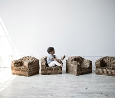 Rip + Tatter Kid's Chair by Brooklyn based designer Pete Oyler. The chairs are sculpted by hammering out industrial cardboard and are 100% recyclable!
