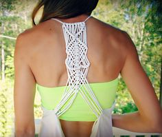 Trash To Couture: Macramé Racerback from tshirts - Dang this was difficult. Maybe use something sturdier than jersey for back next time?