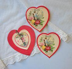 Vintage Valentine's Day Paper Ephemera - Heart Cards