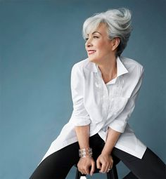 #greyhair looks so becoming on a mature lady if it is styled well.