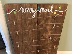 Merry Mail Christmas card holder, christmas decor, card holder, handmade, wood sign, wood decor