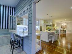 kitchen servery opening to outdoor living space Hamptons Kitchen, Hamptons House, The Hamptons, Farmhouse Trim, Beach Kitchens, Dream Kitchens, Australian Homes, Kitchen Design, Kitchen Ideas