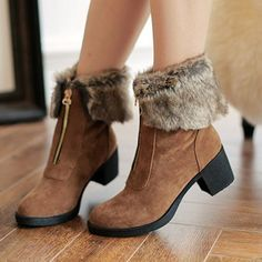 Boots And Kimos Zipper Faux Fur Lining Round Toe Wedge Ankle For Women
