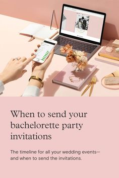 The wedding is, of course, the main event, but each of the parties leading up to the Big Day should be carefully considered as well. Bachelorette Party Invitations, Modern Wedding Invitations, Paperless Post, Timeline, Big Day, Wedding Events, Bridal Shower, Parties, Engagement