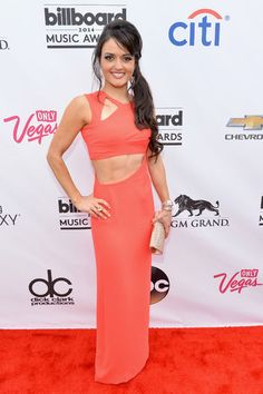Danica McKellar's simple gown popped on the carpet with it's hot pink hue and cutout detail.