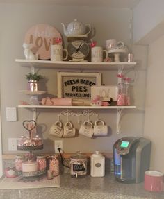 My Valentine's coffee/cocoa bar. I wanted only Pink, Gold and White this year. My Valentine's coffee/cocoa bar. I wanted only Pink, Gold and White this year. Floating Shelves Bedroom, Floating Shelves Kitchen, Wooden Floating Shelves, Kitchen Shelves, Kitchen Decor, Bathroom Shelves, Corner Shelves, Design Kitchen, Coffee Nook