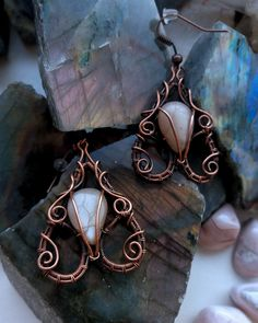 Copper and peach moonstone earrings