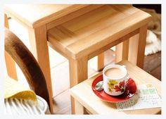 Oak nest of tables, coffee table, coffee cup, postcards, natural oak, natural oak furniture