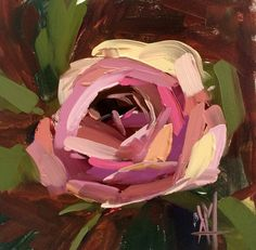 Garden Rose no. 23 original floral oil painting by Angela Moulto 6 x 6 inch on panel pre-order by prattcreekart on Etsy