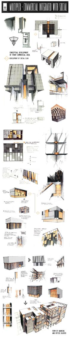 facade integratioin - Professional Design Proposals - Under-Development by Anique Azhar, via Behance Croquis Architecture, Architecture Design, Architecture Presentation Board, Architecture Board, Architecture Graphics, Architecture Portfolio, Concept Architecture, Presentation Layout, Presentation Boards