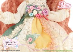 Accessories: Headdress, Doll Stand / Set Contents: Headdress, One-Piece Dress, Frill Apron, Tights, Shoes  / Feeling:Among Bright Roses..... Smile unwillingly.....Seems to bloom until my heart splendidly....Feel Like So.   / - Original New Doll ''Innocent Flowers'' Pullip now arrived!!  / May 5th 2015 at Tokyo Doll Show NO.1 Survey Doll!!  / - Fluffy Wavy Hair with Sickly Pink colored Wig and Sweet Smile Makeup, and Memorable Blue colored eyes are using.