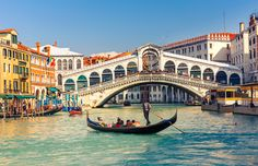 size: Stretched Canvas Print: Gondola & Rialto Bridge Venice : Using advanced technology, we print the image directly onto canvas, stretch it onto support bars, and finish it with hand-painted edges and a protective coating. Grand Canal, Italy Destinations, Romantic Destinations, Famous Bridges, Rialto Bridge, Turin, Belle Villa, Main Attraction, Weekend Breaks