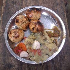 baati chokha is a rustic bihari dish, baati is a bread cooked in open fire.