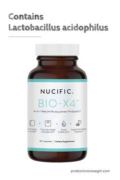 Nucific Bio X4 is a weight loss probiotic supplement that contains the strain Acidophilus and a bunch of other strains. It has a 12 billion CFU count. Bio X4 Reviews, Vegan Probiotics, Lactobacillus Acidophilus, Weight Management, Metabolism, Cravings, Count, Weight Loss, Health