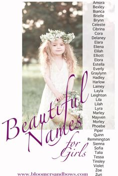 Over 100 beautiful and unique girl names. Find the perfect unique ang beautiful name for your baby girl. A long list of baby names to inspire you. Unique Girl Names, Beautiful Baby Girl Names, Cute Baby Names, Beautiful Babies, Kid Names, Baby Names For Girls, Cute Girl Middle Names, Long Girl Names, Romantic Girl Names
