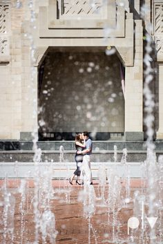 http://www.photolavie.com fountain Lena Scott engagement session Modern Art Museum Fort Worth Sundance Square downtown architecture urban city wedding DFW Sarah Whittaker Photo La Vie